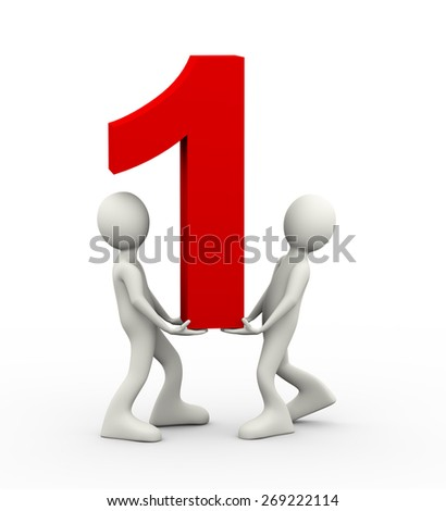 3d illustration of people holding and carrying numeric number one. 3d human person character and white people - stock photo