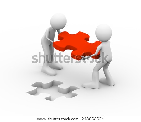 3d illustration of people holding puzzle solution piece. Concept of problem solution, goal achievement, teamwork, success.  3d human person character and white people - stock photo