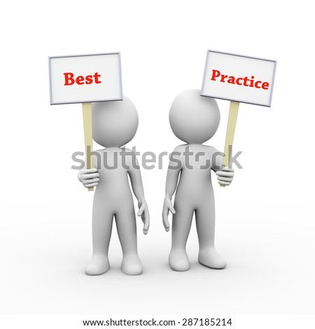 3d illustration of people holding sign board banner of word text best practice.  3d rendering of man person human people character - stock photo