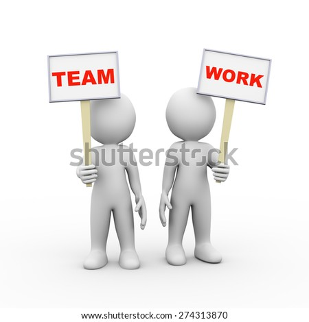 3d illustration of people holding sign board banner of word text team work.  3d rendering of man person human people character - stock photo