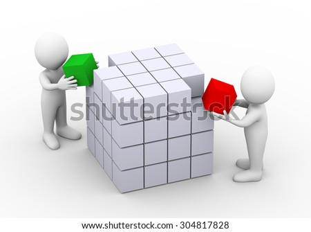 3d illustration of people placing cube to complete box design structure.  3d rendering of man human people character - stock photo