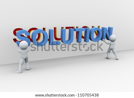 3d Illustration of people placing word solution. 3d rendering of human character. - stock photo
