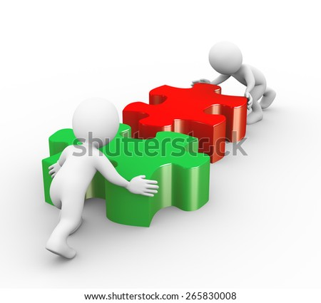 3d illustration of people pushing puzzle pieces to solve problem. Concept of team work and rendering of human people man character - stock photo