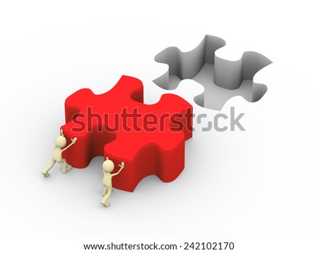 3d illustration of people pushing red big puzzle piece. Concept of problem solution, goal achievement, teamwork, success.  3d human person character and white people