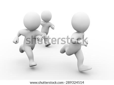 3d illustration of people running. Concept of race, sport, competition. 3d rendering of human people character - stock photo