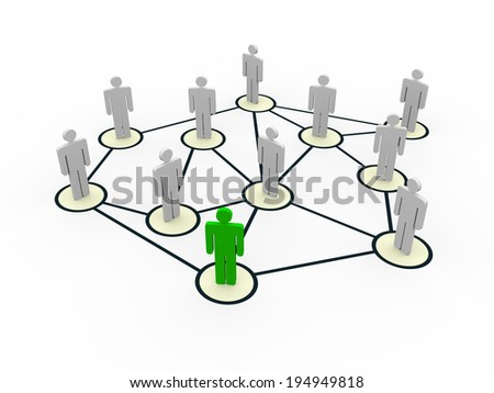 3d illustration of people social network concept - stock photo