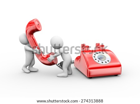 3d illustration of people talking on phone.  3d rendering of human people character