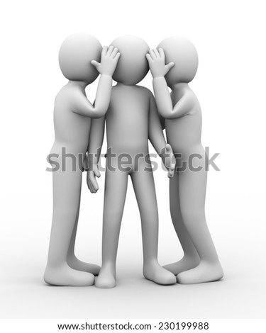 3d illustration of people whispering to another person. 3d rendering of human people character. - stock photo