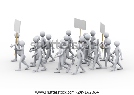 3d illustration of people with banner and placards protesting and on strike walk.  3d rendering of human people character - stock photo