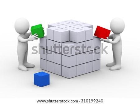 3d illustration of people working together to complete box cube design structure.  3d rendering of man human people character - stock photo