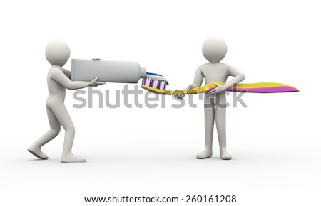3d illustration of people working together to press out toothpaste from tube to covered toothbrush. 3d rendering of human man people character - stock photo