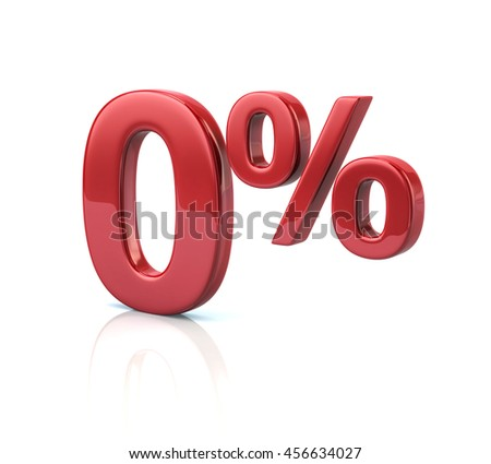 3d illustration of 0 percent discount in red letters on white background