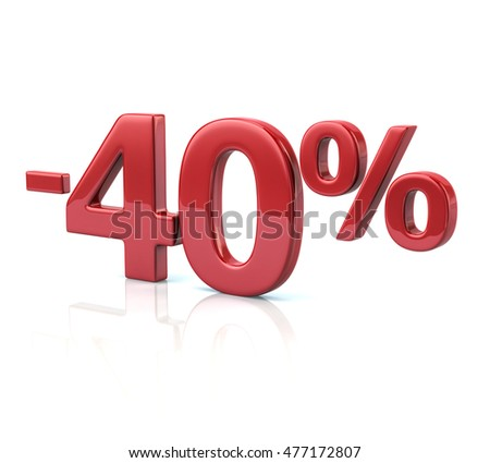 3d illustration of 40 percent discount in red letters on white background