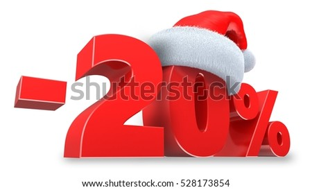 3d illustration of 20 percent discount over white background
