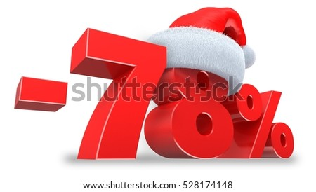 3d illustration of 78 percent discount over white background