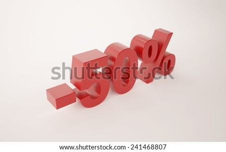 3d illustration of 50 percent discount sign over white background