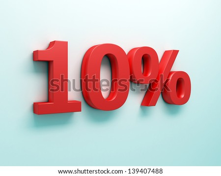 3d illustration of 10 percent discount sign, red color