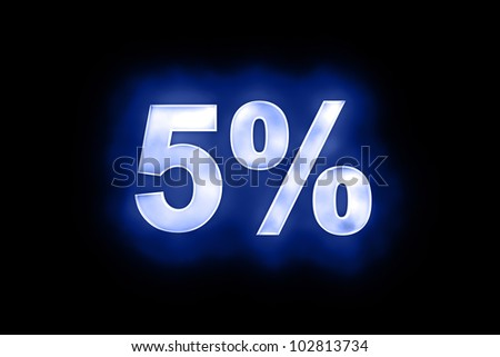 3d illustration of 5 percent in glowing mottled white numerals on a blue background with a black surround - stock photo