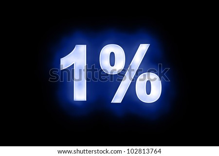 3d illustration of 1 percent in glowing mottled white numerals on a blue background with a black surround - stock photo
