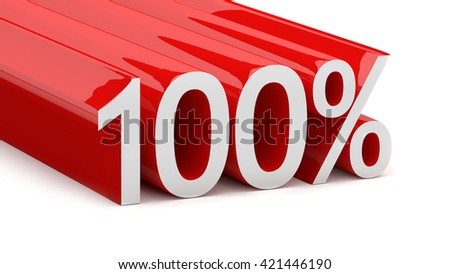3D illustration of 100 percentage on a white background - stock photo