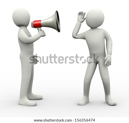 3d illustration of person announcing through megaphone and another guy carefully listening. 3d rendering of human people character. - stock photo