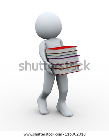 3d illustration of person carrying books.  3d rendering of human character. - stock photo