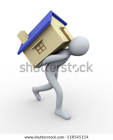 3d illustration of person carrying house. 3d rendering of human character. - stock photo
