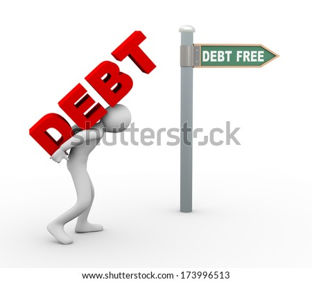 3d illustration of person carrying word debt toward debt free zone pointed by road sign post.  3d rendering of human people character.
