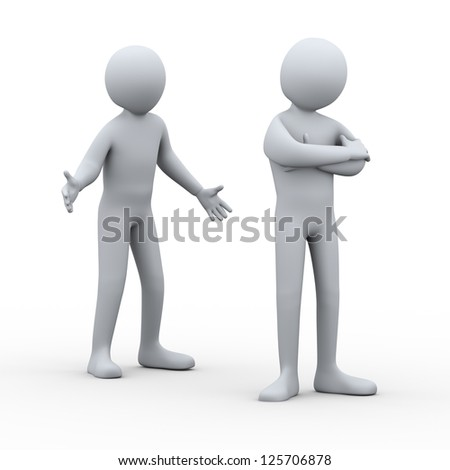 3d illustration of person having conflict with another man. 3d rendering of people - human character. - stock photo