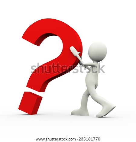 3d illustration of person holding and stopping falling big question mark. 3d human person character and white people - stock photo