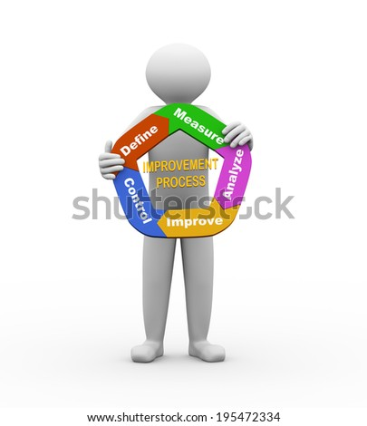 3d illustration of person holding circular arrow chart of concept of improvement process. 3d human person character and white people. - stock photo