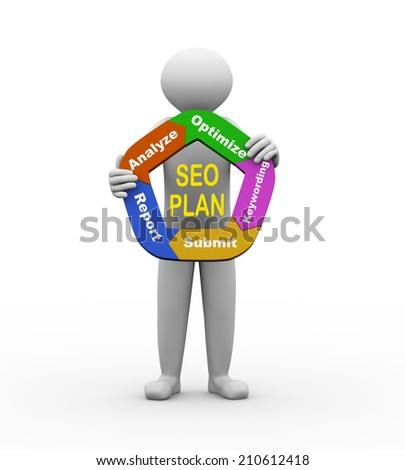 3d illustration of person holding circular flow chart of seo plan. 3d human person character and white people. - stock photo