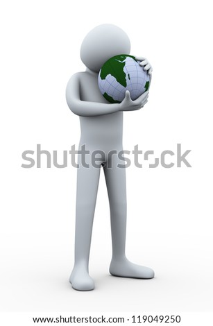 3d illustration of person holding earth globe with love. 3d rendering of human character.