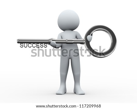 3d illustration of person holding key with word success. 3d rendering of human character. - stock photo
