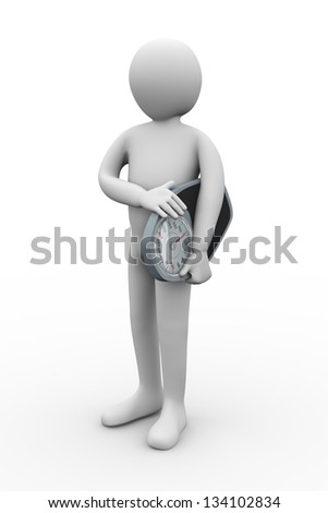 3d illustration of person holding weight balance scale. 3d rendering of people - human character