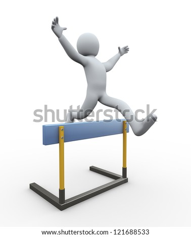 3d illustration of person jumping over hurdle. 3d rendering of people - human character.