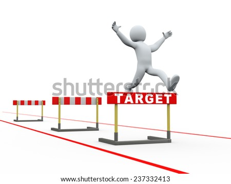 3d illustration of person jumping over target track of hurdle obstacle. 3d rendering of people - human character.