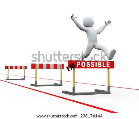 3d illustration of person jumping over track of hurdle obstacle. concept of achieving target and making impossible possible. 3d rendering of people - human character. - stock photo
