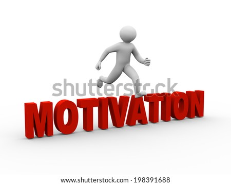 3d illustration of person jumping over word motivation. 3d human person character and white people.  - stock photo