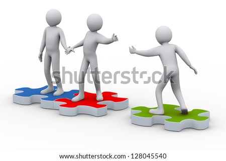 3d illustration of person on puzzle piece joining group of people. 3d rendering of people - human character. - stock photo