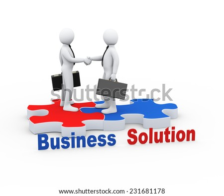3d Illustration of person on puzzle piece shaking hands with his business partner. 3d rendering of human businessman character - stock photo