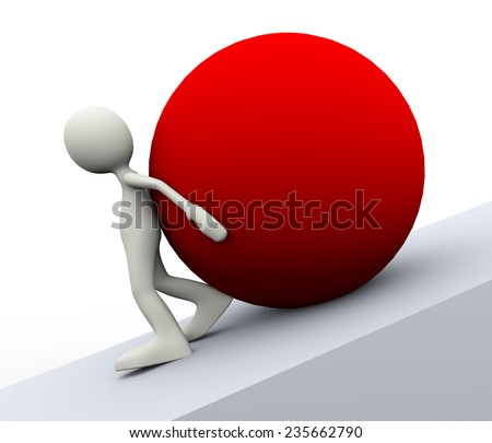 3d illustration of person pushing a red big ball uphill showing determination. 3d human man character and white people - stock photo