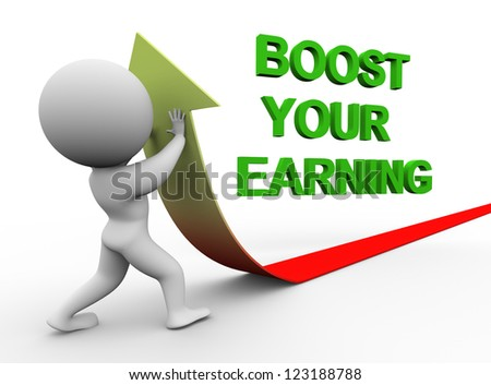 3d illustration of person pushing arrow upward representing conept of boosting earning. - stock photo