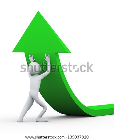 3d illustration of person pushing green arrow upward. 3d rendering of people - human character - stock photo