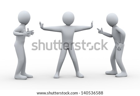 3d illustration of person resolving problem of two arguing and fighting person. 3d rendering of disputed and conflict people - human character. - stock photo
