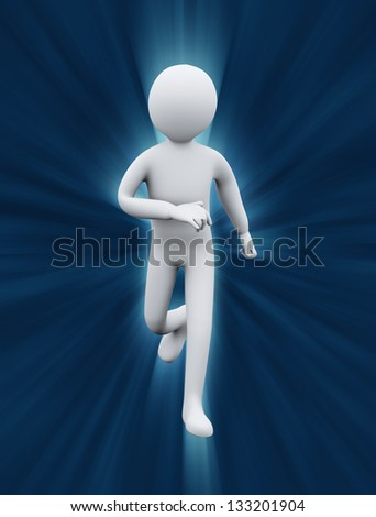 3d illustration of person running on light rays flare representing exercise and physical fitness. 3d rendering of people  - human character - stock photo