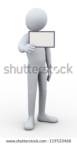 3d illustration of person showing blank card, useful for adding your own text.  3d rendering of human character. - stock photo