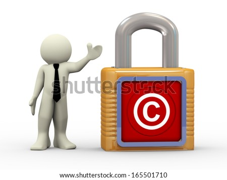 3d illustration of person standing with copyright cymbol padlock.3d rendering of people - human character. - stock photo