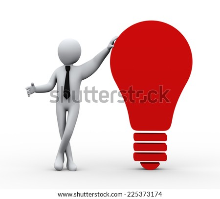 3d illustration of person standing with idea bulb. 3d rendering of people - human character - stock photo