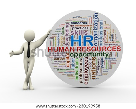 3d illustration of person standing with wordcloud word tags of HR human resources.  - stock photo